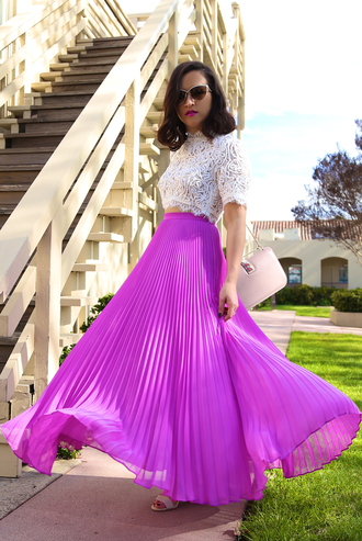 ktr style blogger spring outfits purple skirt pleated skirt maxi skirt white crop tops crochet top
