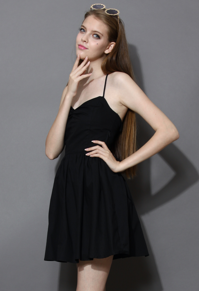 Revitalized Black Adjustable Tie Back Dress - Retro, Indie and Unique Fashion