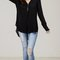 V-neck long sleeve tunic blouse - black