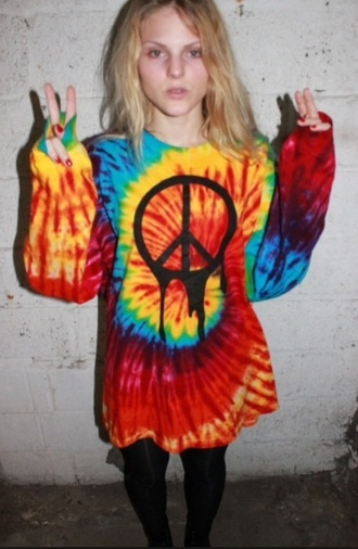 sweater rainbow peace sign oversized sweater colorful tie dye