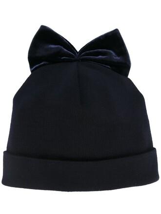 bow beanie velvet blue hat