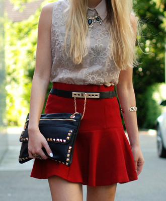 skirt red tulip skirt belted tucked in beige floral shirt