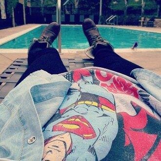 shoes t-shirt boots superman black leggings brown shoes shirt acacia brinley