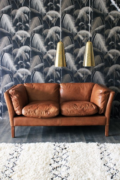 Cole & Son - Contemporary Restyled - Palm Jungle Wallpaper - Silver on Black 95/1004 - Wallpaper - Nature - Wallpaper & Decor