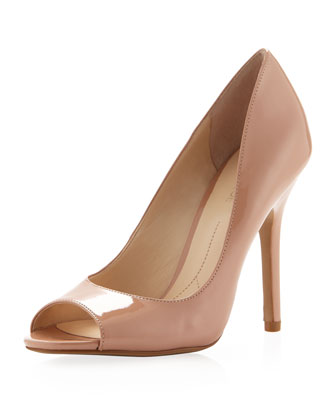 Boutique 9 Pacey1 Patent Peep-Toe Pump, Nude - Neiman Marcus Last Call