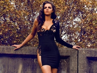 dress black dress lace dress one shoulder mini dress cocktail dress sexy black dress.. with nude color