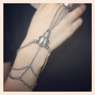 jewels goat skull bracelets ring metal chain
