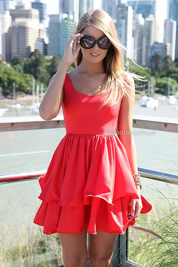 ELIXIR FRILL DRESS , DRESSES, TOPS, BOTTOMS, JACKETS & JUMPERS, ACCESSORIES, SALE, PRE ORDER, NEW ARRIVALS, PLAYSUIT, COLOUR,,Red Australia, Queensland, Brisbane