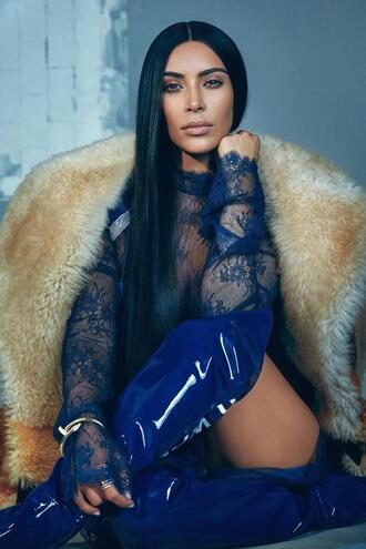 blouse top dress blue over the knee fur fur coat kim kardashian kardashians shoes editorial