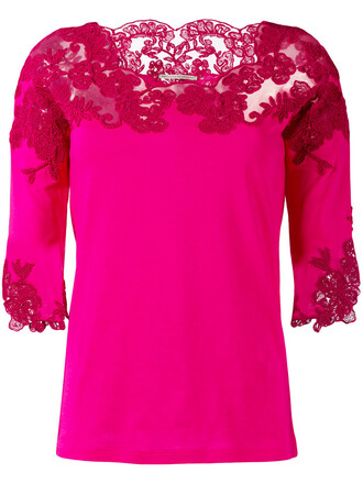 top knitted top women lace cotton purple pink
