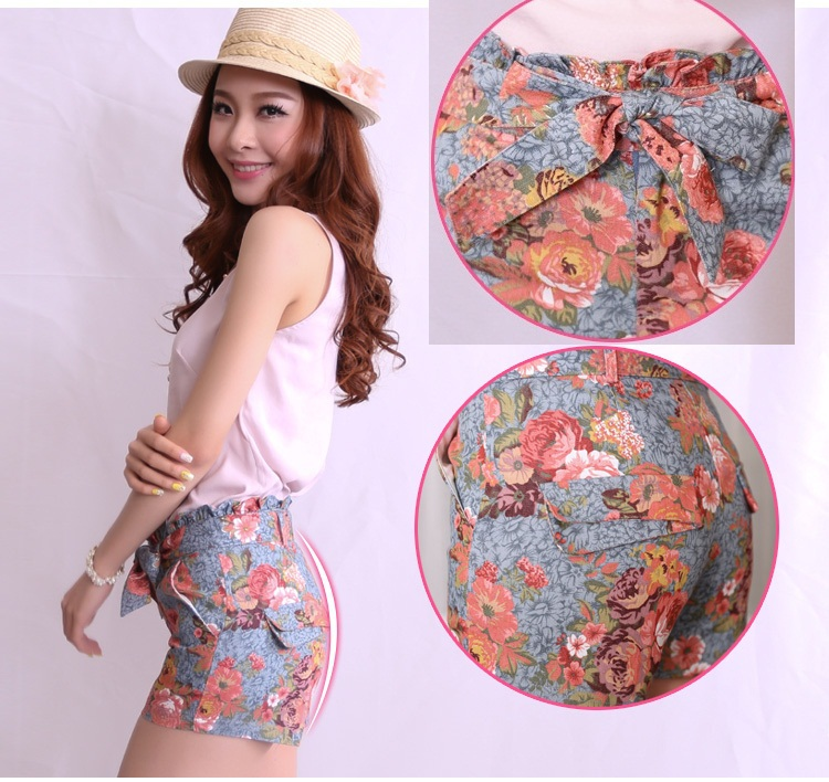 new 2014 Korean retro print floral with Bow denim high waist shorts, jeans floral shorts for women fashion denim shorts-in Shorts from Apparel & Accessories on Aliexpress.com