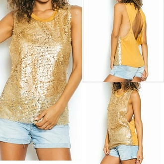 blouse gold sequins gold sequence top top backless top orange cute top spring top