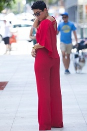 jumpsuit,cape jumpsuit,v neck,classy,belted jumpsuit,sexy,romper,wots-hot-right-now,red dress,red jumpsuits,party jumpsuits,birthday dress