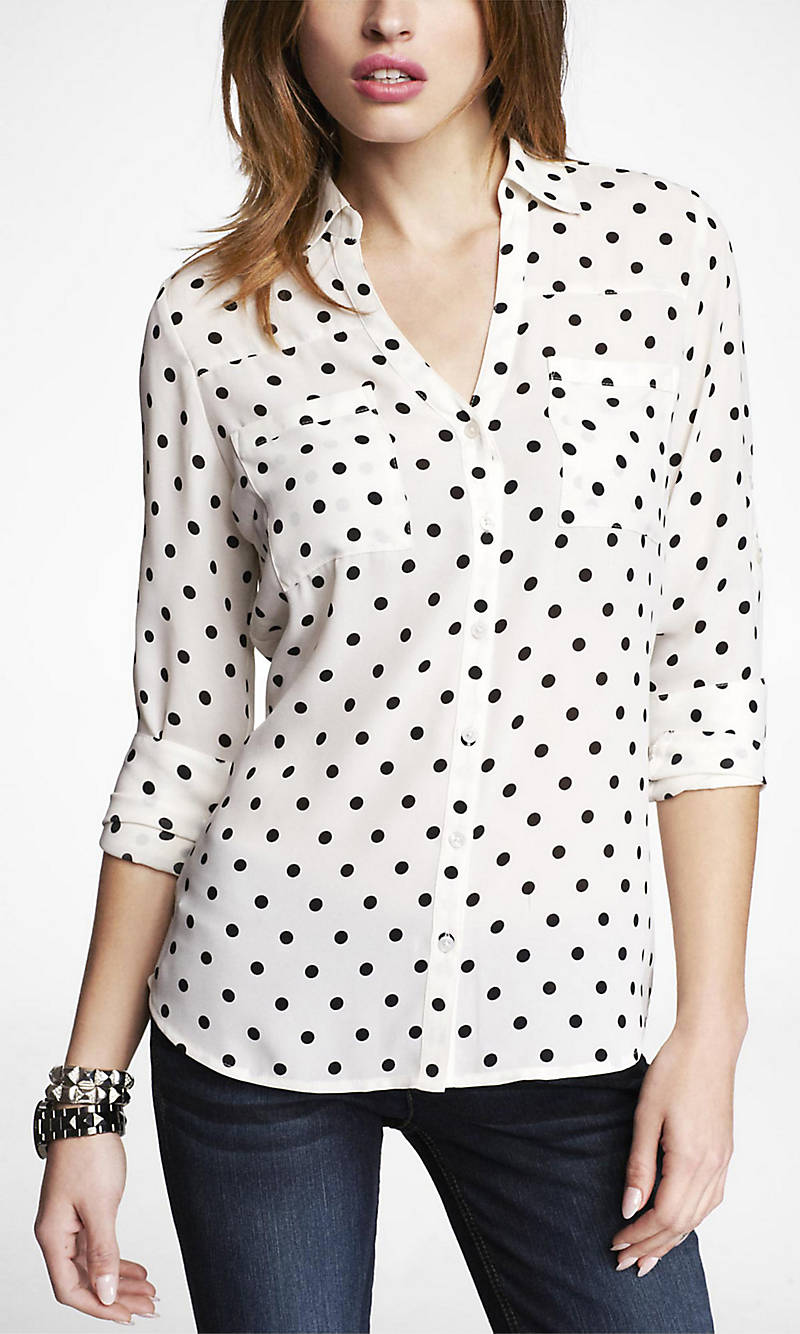 POLKA DOT CONVERTIBLE SLEEVE PORTOFINO SHIRT from EXPRESS