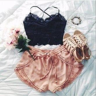 shorts baby pink lace trim shoes