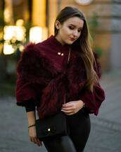 bag,ted baker,black bag,crossbody bag,scarf,fur scarf,sweater,burgundy