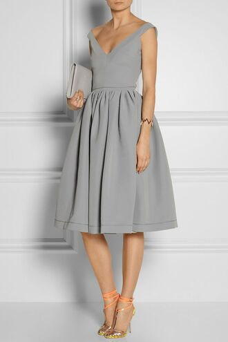 grey dress gray dress classy sleeveless dress v-neck dress formal