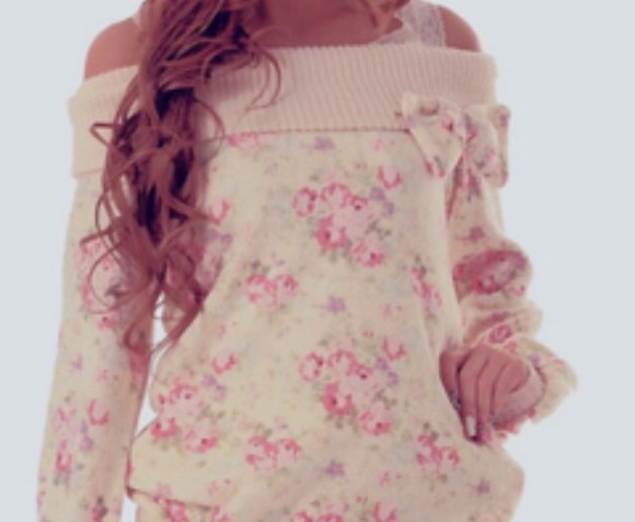 pink floral cute pastel pink shirt bows one shoulder
