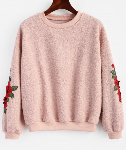 sweater embroidered girly sweatshirt jumper pink floral fur