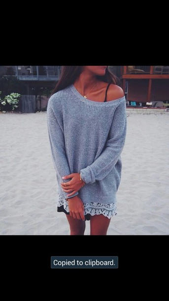 t-shirt knit shirt grey sweater off the shoulder sweater off the shoulder sweater