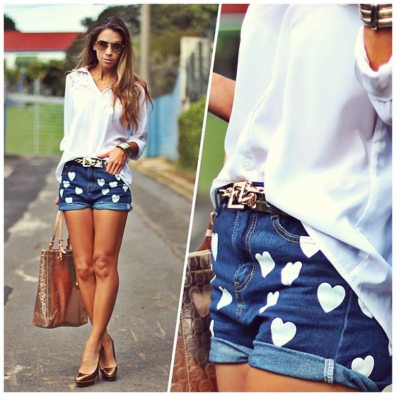 Kimika White Shirt, Romwe Hearts Denim Shorts, Schutz Golden Pumps - Hearts - Vanessa Vasconcelos | LOOKBOOK