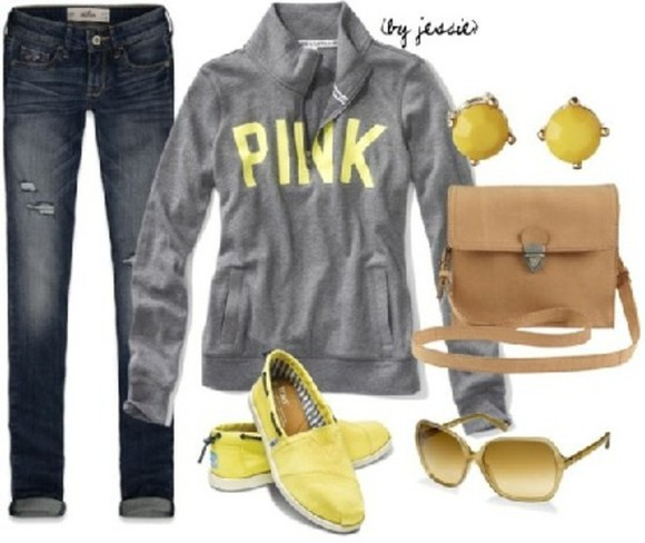 yellow sunglasses sweater pink grey sweater brown leather side bag airmax yellow beige sneakers