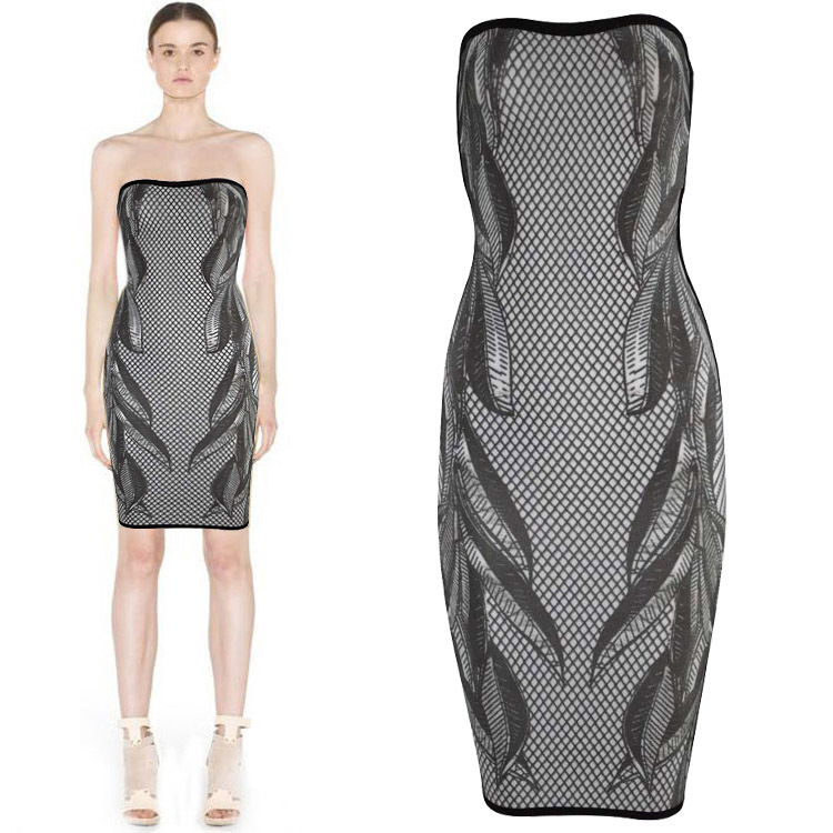 Aliexpress.com : Buy Latest Design Rayon 3D Print Leaves Plaid Strapless HL Cocktail Bandage Dress for Fashion Women from Reliable printed jersey dress suppliers on Lady Go Fashion Shop