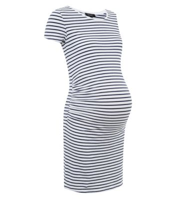 Maternity Blue Stripe Longline Tunic Dress