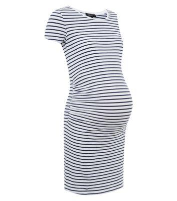 Maternity blue stripe longline tunic dress