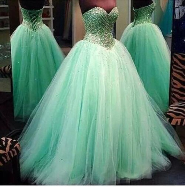 dress green dress prom dress strapless dress ball gown dress quinceanera dress rhinestones sparkly dress