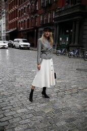 memorandum,blogger,jacket,skirt,shoes,hat,jewels,bag,floral midi skirt,white skirt,sock boots,fisherman cap