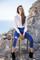 Pantalones tobilleros pinzas azul metálico