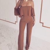 jumpsuit,off the shoulder,brown jumpsuit,jewels