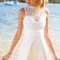 White high neckline crochet skater dress