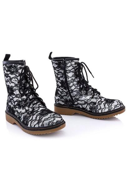 shoes black; lace; combat boots