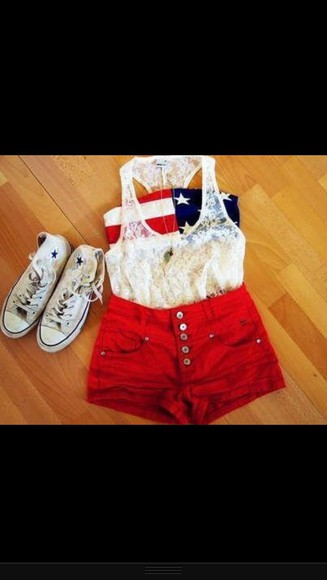usa flag shorts bustier converse lace