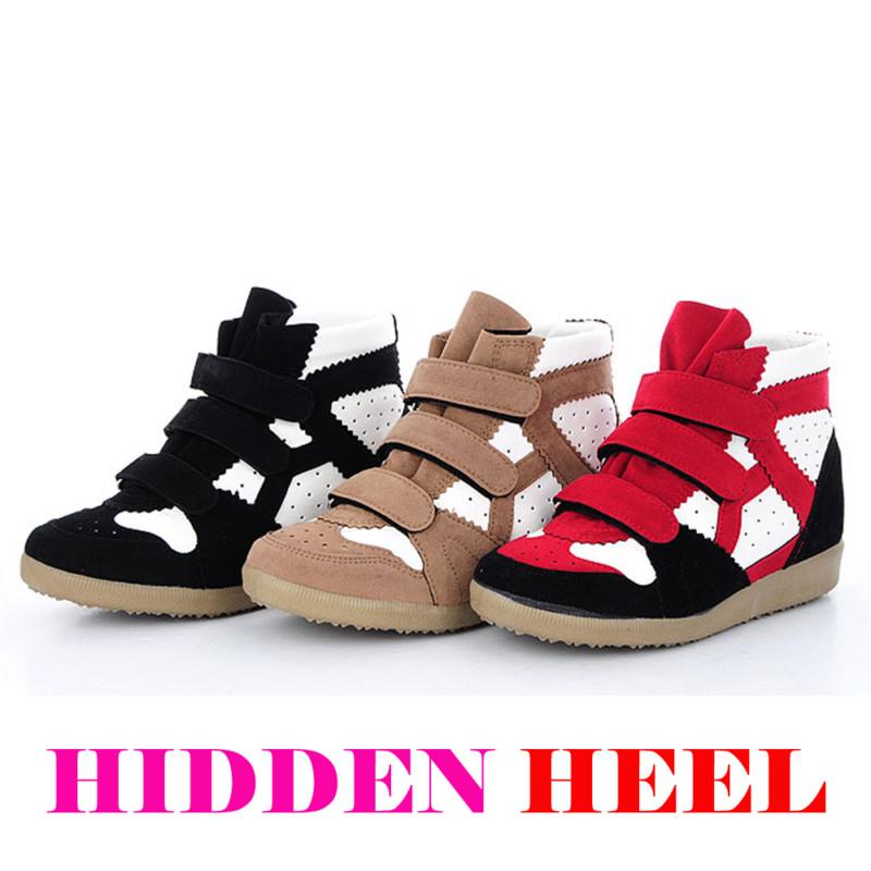 """Women's high top 2.4"""" hidden wedge heel fashion sneakers black beige red us 6~8"""
