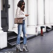 shoes,tumblr,velvet,velvet boots,thick heel,block heels,denim,jeans,blue jeans,cropped jeans,jacket,studded jacket,bag,brown bag,gucci,gucci bag,dionysus,fall outfits,outfit idea,thick heel boots