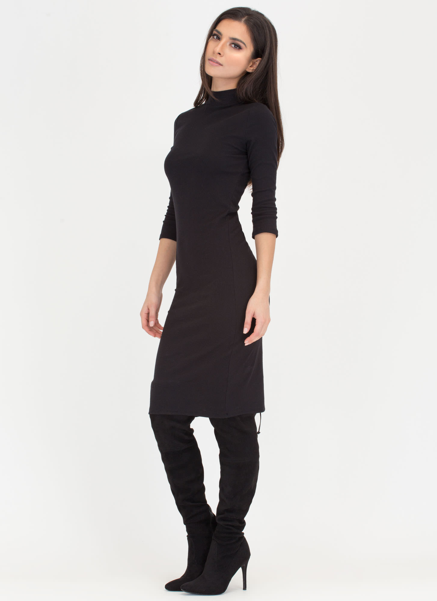 Back To Basics Ribbed Mockneck Dress MARSALA OLIVE BLACK - GoJane.com