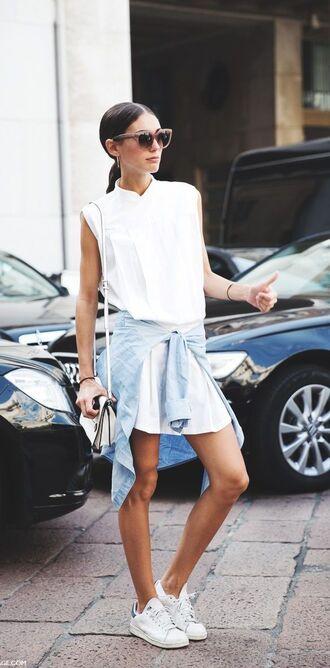 shoes sunglasses white shirt dress blue shirt adidas shoes blogger
