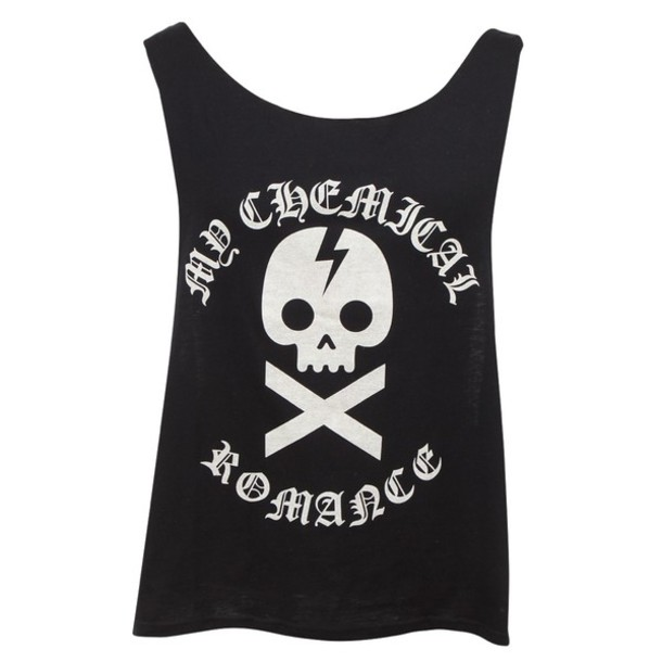 shirt black t-shirt my chemical romance tank top black tank top white band t-shirt