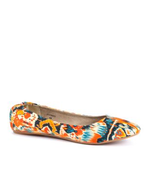 Orange patterned ballet pumps