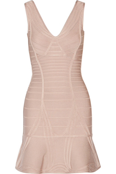 ad5e21a1e0 Hervé Léger Nadja Paneled Bandage Mini Dress in blush - Wheretoget