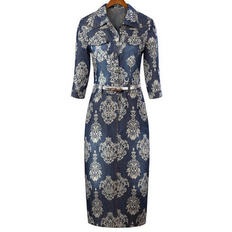 vintage dress totem print blue dress pockets dress turn down collar