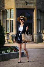 preppy fashionist,blogger,hat,jacket,t-shirt,shorts,shoes,bag,sunglasses,jewels,straw bag,fall outfits,blazer