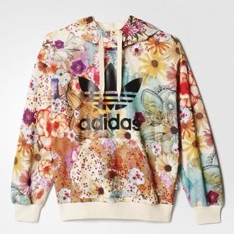 jacket hoodie floral adidas summer green adidas hoodies