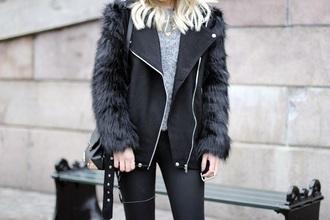 jacket black jacket faux fur jacket faux fur leather fur black jacket winter coat