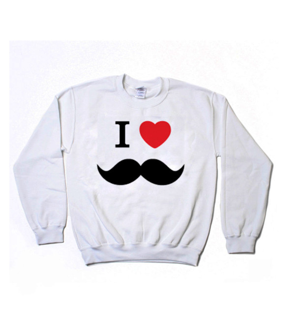 i heart mustache i love mustaches moustache moustache sweater sweatshirt white sweater graphic sweater