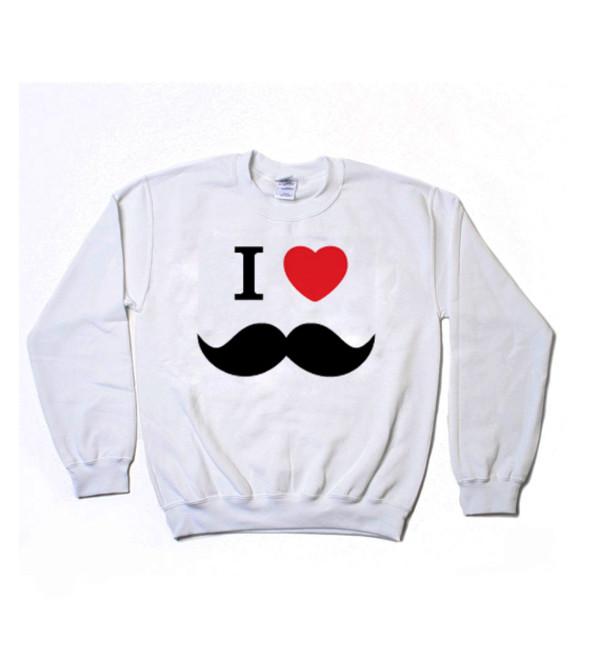 i heart mustache i love mustaches moustache moustache sweater sweatshirt white sweater graphic sweater