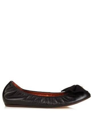 bow ballet pearl embellished flats ballet flats leather black shoes